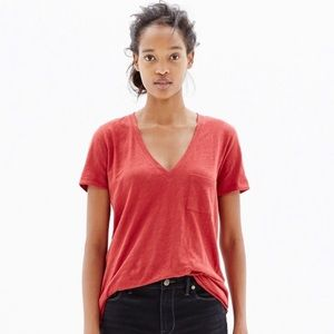Madewell Flowy Short Sleeve one front-pocket